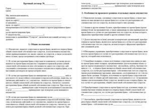 Образец брачного договора при ипотеке