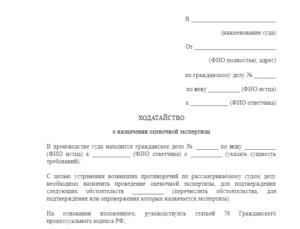 Образец ходатайства о назаначении землеустроительной экспертизы в суде общей юрисдикции