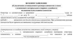 Заявление в суд на увеличение размера алиментов образец