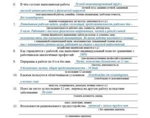 Условия и характер выполняемого труда для мсэк что писать