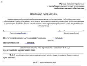 Образец решение учредителя о ликвидации некоммерческой организации