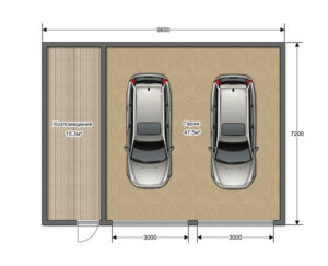 Минимальный размер гаража на 2 машины с двумя воротами