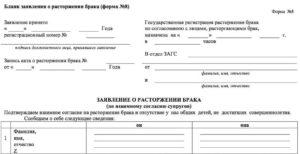 Занс заявление на развод форма 8 скачать