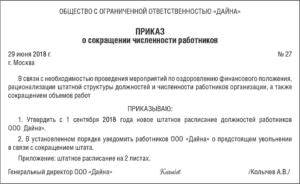 Образец приказа по сокращению штатов работников в доу