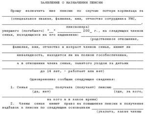 Заявление в суд о назначении пенсии по потере кормильца супруга
