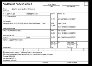 Выплата по авансовому отчету через расчетный счет лимиты