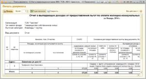 Отчет по коммунальным платежам образец
