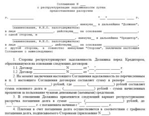 Образец заявления о реструктуризации долга с графиком погашения