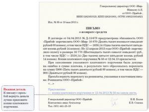 Письмо на возврат денежных средств за полученный товар по гарантии