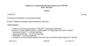 Образец приказа о введении дополнительных штатных единиц в штатное расписание