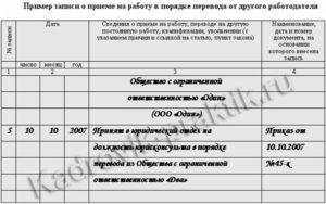 Образец приказа о приеме в порядке перевода из другой организации
