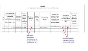 Образец внесения исправлений в книгу учета и движения трудовых книжек