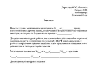 Образец заявления на легкий труд после операции