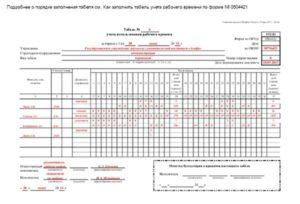 Образец заполнения табеля ф 0504421 в 2016 году