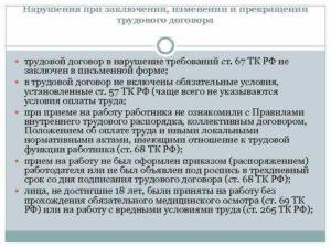 Нарушение не внесены своевременно изменения в трудовой договор