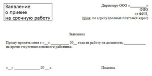 Заявление на работу на период декретного отпуска основного работника