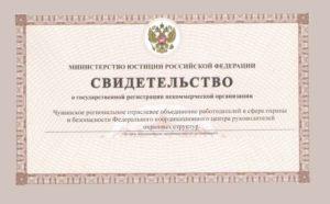 Свидетельство о государственной регистрации некоммерческой организации