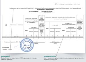 Образец заполнения формы 1 для центра занятости