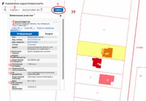 Красный квадрат на публичной кадастровой карте