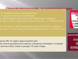 Нарушение срока поставки товара закон о защите прав потребителей