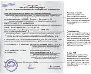 Образец заполнения декларации соут для ип без работников