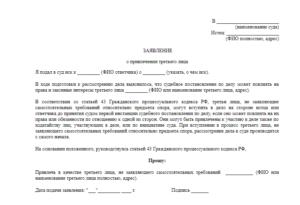 Заявление о замене третьего лица в гражданском процессе образец