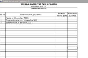 Налоговая опись документов бланк