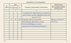 Запись в тк о награждении почетной грамотой образец