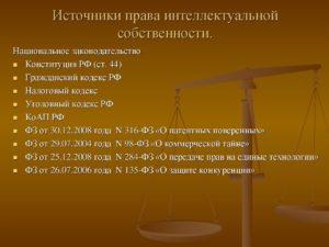 Источники правовой охраны объектов интеллектуальной собственности в российской федерации
